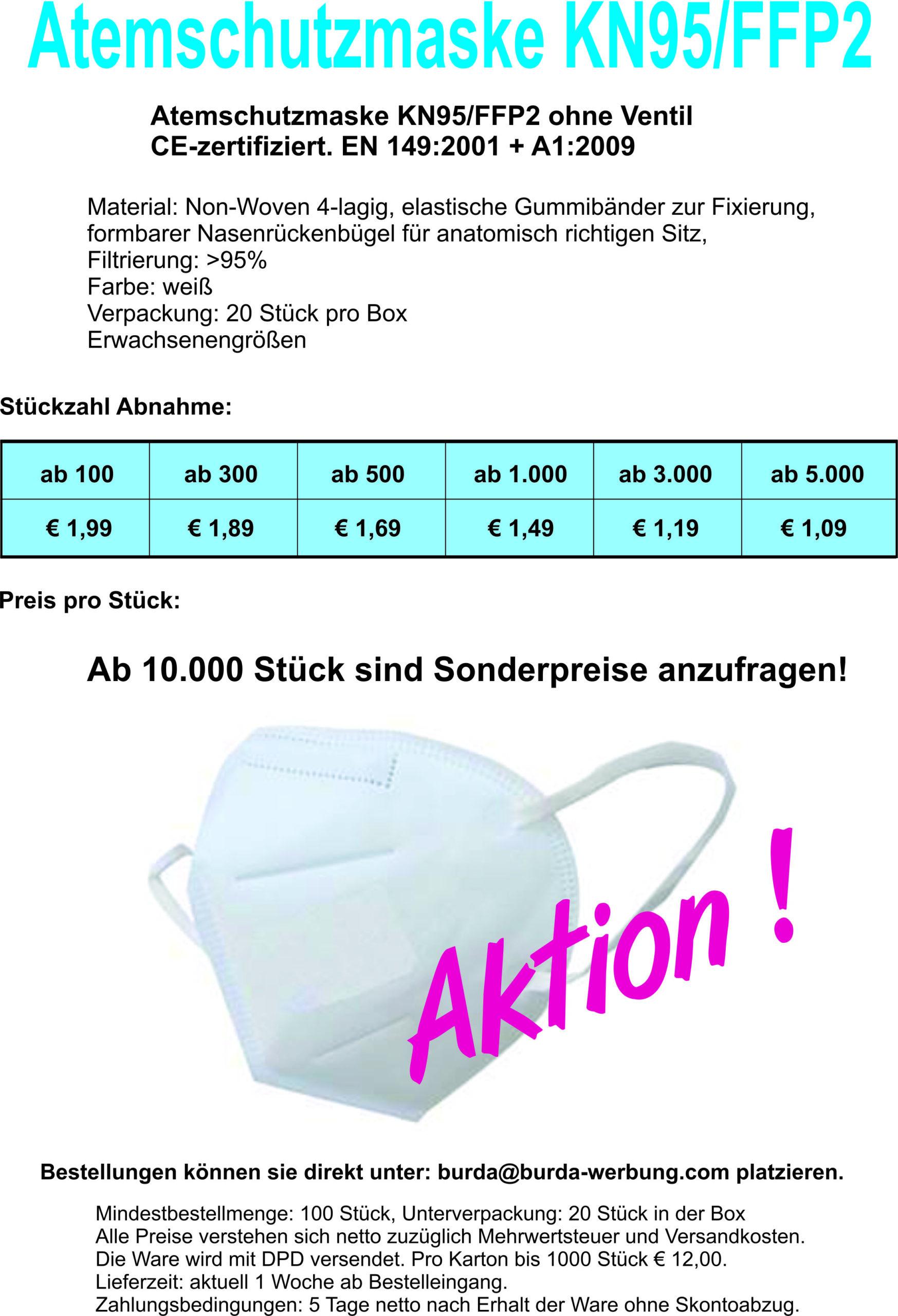Flyer Atemschutzmaske KN 95FFP2